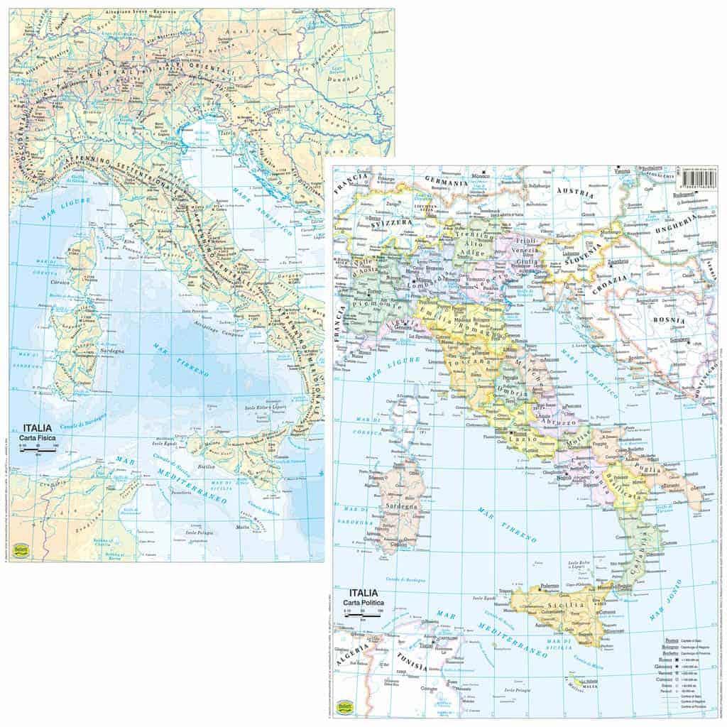 Cartina Politica Italia Formato A3.Cartina Dell Italia Scolastica Da Banco Plastificata Libreria La Cometa